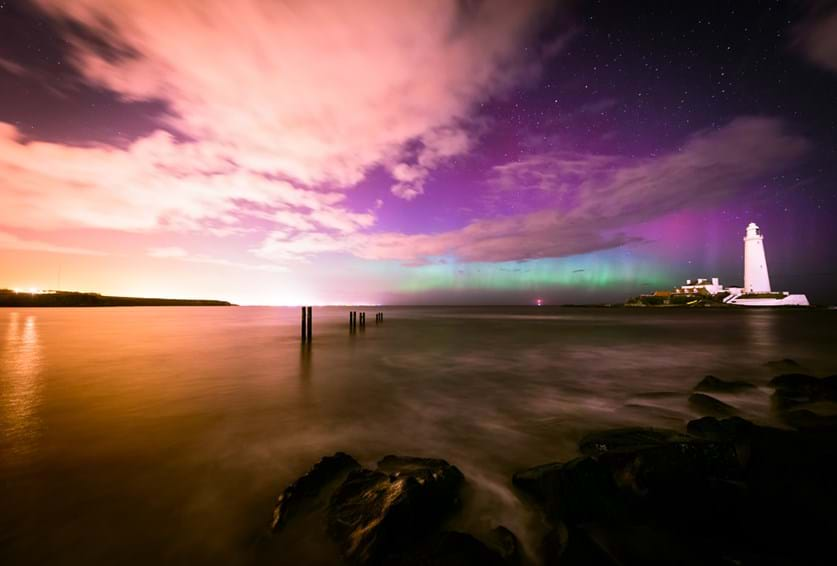 Aurora Borealis over St Mary's Lighthouse