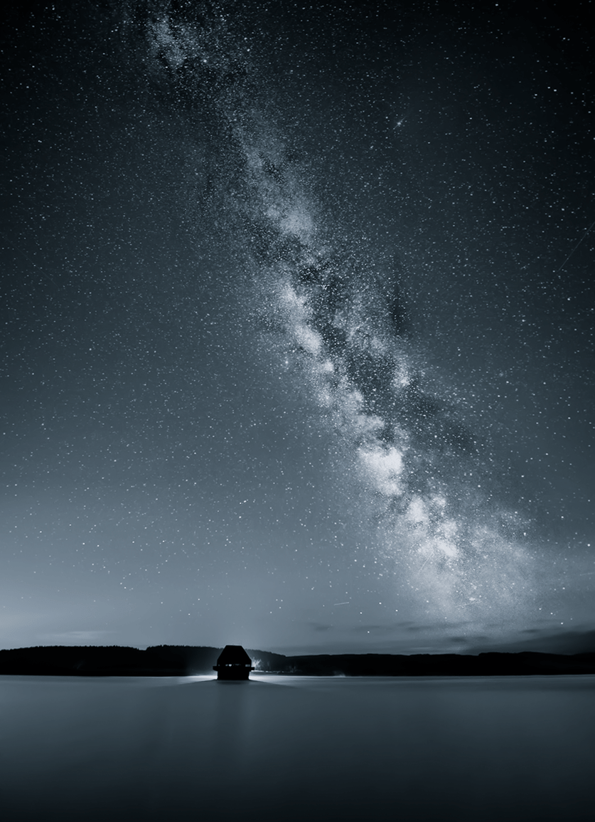 Black and White Milky Way over Kielder water